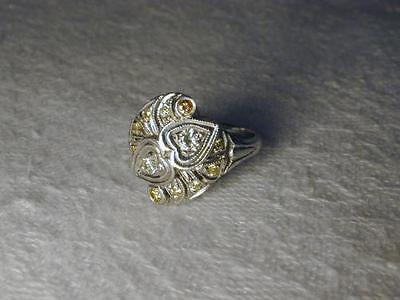 Diamond Filigree Heart Band Ring - Antique Estate 14K White Gold Filigree Yellow Diamond Hearts Heart Ring Band
