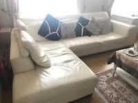 Large light cream Corner Lshape leather sofa with large footstool