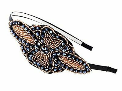 Flapper Accessories (Vintage Floral Flapper Beaded Hair Piece Headband Gatsby Costume)