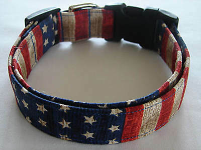 Charming Patriotic Old World Red, White & Blue Stars & Stripes Dog Collar Red Striped Dog Collar