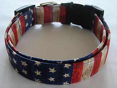 Charming Patriotic Old World Red, White & Blue Stars & Stripes Dog Collar Blue Stars Dog Collars