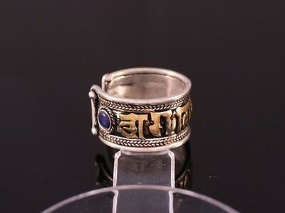 Over Half Inch Wide Solid Tibetan Lapis Coral Brass Om Mani Padme Hum Ring