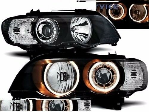 New Right hand drive UK Black angel eyes xenon headlights BMW E53 X5 1999 - 2003 RHD (stock photo)
