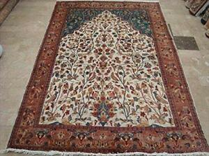 Tree of Life Peace Bird Jungle Hand Knotted Area Rug Silk Wool Carpet (9 x 6)'