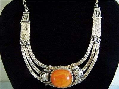 Unique Elegant Vintage Style Tibetan Silver Big Beeswax Amber Necklace