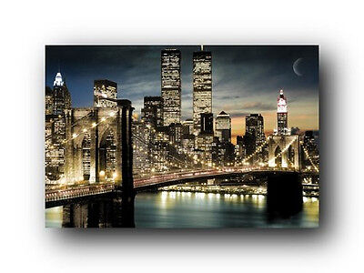 (Manhattan Lights New York City Skyline Art Poster Print NYC Night scene View)