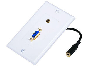 SVGA VGA HD15 Video + 3.5mm Stereo Audio Wall Face Plate Gold for PC New - White