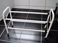 Brand New 2 tier metal shoe rack on wheels