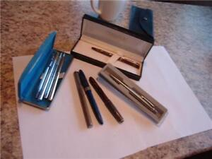 VINTAGE GROUP OF PENS SOME IN CASES ALSO REFILS AND A THERMOMETE