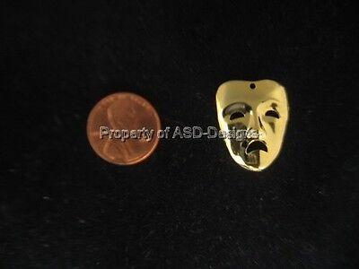 50pc Gold Plated Sad Face Drama Mask Charms 6928