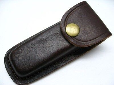 """BROWN LEATHER Belt Pouch SHEATH For Folding Knife or Tool Up to 4"""" PA33234 New!"""