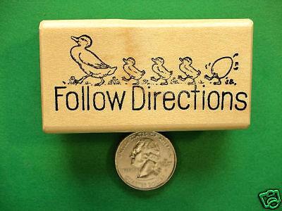 Follow Directions Ducks, Teacher wood mtd rubber stamp