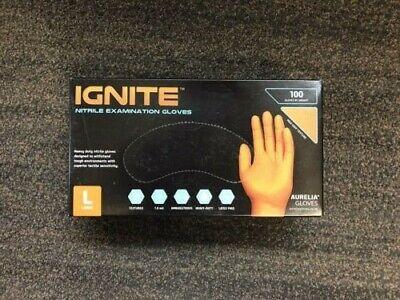 Aurelia Ignite Orange Nitrile Examination Heavy Duty Gloves - Large - 100 Gloves