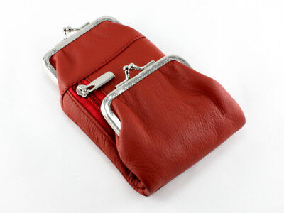 (Red Genuine Cowhide Leather Cigarette Pack Holder Pouch Case Coin Purse Wallet)