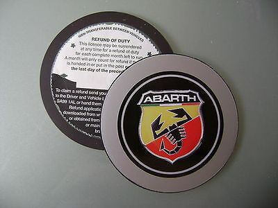 FITS FIAT ABARTH BLACK TAX DISC HOLDER 500 500CC 500L BLACK AND BLUE