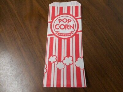 100 Red White Popcorn Bags 1 Oz Carnival King 3 12 X 2 14 X 8 14 - New
