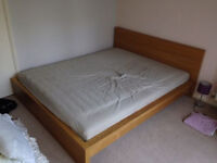 Double bed frame Ikea Malm oak