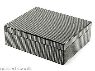 Lacquered Black Carbon Fiber Cedar Lined Desktop Humidor Holds 50 Cigar