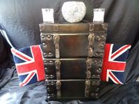 Stylish Handmade Vintage Leather Bound Bedside Table Trunk 3 Drawer Chest