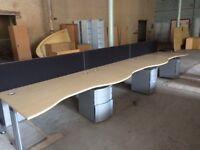 Six Wave Front Desks, Filing Cabinets & Dividers