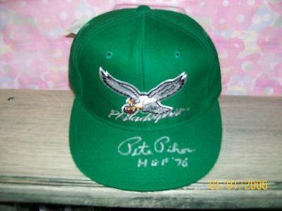 PETE PIHOS SIGNED THROWBACK EAGLES HAT HOF70 RARE! #2 RIP!