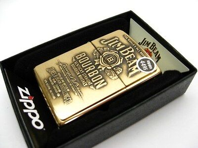ZIPPO High POLISH Brass JIM BEAM Full Face Emblem Windproof Lighter! 254BJB.929