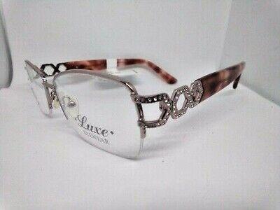 LUXE EYEGLASS FRAMES SWAROVSKI ELEMENTS SHINY LIGHT BLUSH NWT VHTF $124 (Luxe Frames)