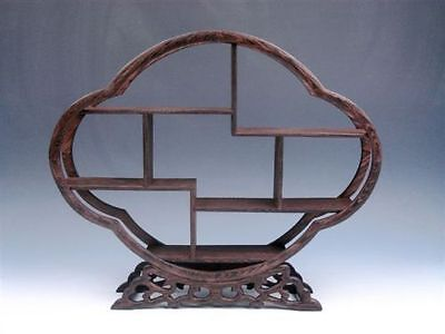 Collectible Old Handwork Wood Carved Big Stands For snuff Bottle Display Shelf