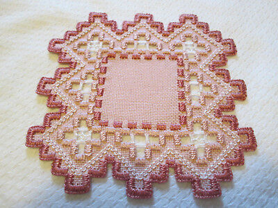 Hardanger Doily Norwegian Embroidery Cut Work White  with rose