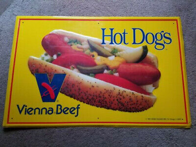 Vintage Vienna Beef Hot Dog Metal Sign RARE, NOS Still with peel away Tape 1991