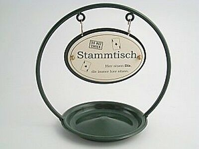 Traditional German Stammtisch Enamel Table Sign Stand with Ash Tray