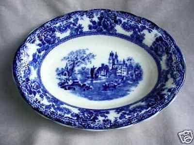 VEGETABLE BOWL oval FLOW BLUE TOGO F. Winkle & Co Blue Oval Vegetable Bowl
