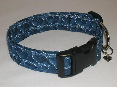 Charming Valentines Day Navy Blue Hearts Dog Collar - Valentines Day Hearts