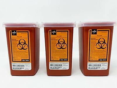 3 X Sharps Container 1 Quart Biohazard Needle Disposal 1 Qt Size Ships Free 3-pk