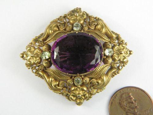 Antique Amethyst Brooch Ebay