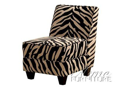 Zebra Accent Chair - Accent Chair with Wooden Legs in Zebra Pattern