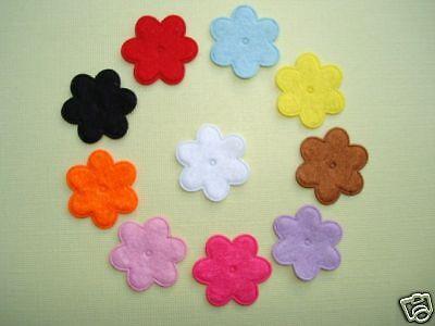 110 mix Felt Flower 6 petals Accents/Applique/trim/Craft/Flat daisy/11 Color H86