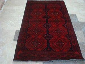 Exclusive Afghan Khal Muhamadi Dark Red Rectangle Area Rug Hand Knotted Wool Carpet (6.5 x 4.0)'