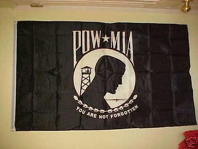 2 (TWO) NEW 2-SIDED POW MIA FLAGS 3'X5' BLACK & WHITE POW NYLON