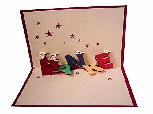 POP UP 3D Klapp-Karte Dankeskarte *Danke mit Sternen* Rot Bunt