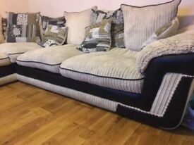 DFS Corner Sofa Cream with Brown Arms Faux Suede Lovely Condition
