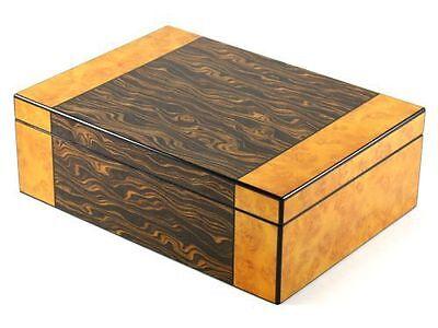 High Lacquer Gloss Spanish Cedar Desktop Humidor Holds 75 Cigar