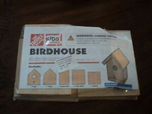 Home Depot kid's workshop wooden birdhouse DIY kit