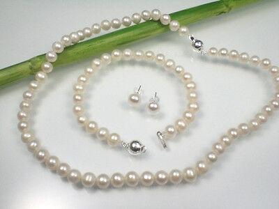 Perlen Set Halskette Armband Ohrstecker weiß 45/20,5cm