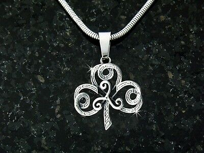 """""""The Journey"""" Shamrock/Triskele Necklace with 24 inch snake chain"""