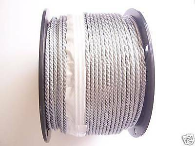 """Galvanized Wire Rope Cable 3/16"""", 7x19: 50,100, 200, 250, 300, 500, 750, 1000 Ft"""