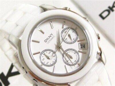 DKNY NY8313 Womens White Ceramic Band Chronograph Dial Dkny Womens White Crystal