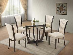 FALL SALE ON 5PC GLASS DINING SET WITH 4 CHAIRS $499 LOWEST PRICES GUARANTEED