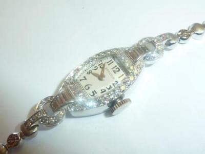 Vintage Hamilton 14K White Gold Diamond Cocktail Watch 0.85 ct Diamonds