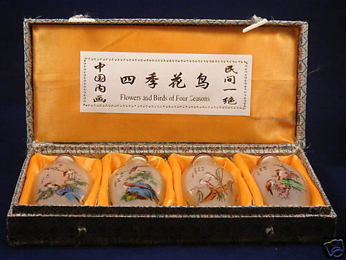 SET OF 4 CHINESE INSIDE REVERSE HAND PAINTED BIRDS & FLOWERS SNUFF BOTTLES